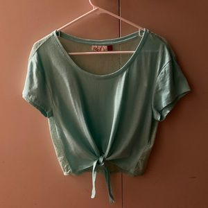 Mint Green Front Tie Lace Back Crop Top